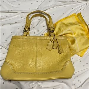 yellow coach bag with matching Head scarf